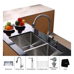 Kraus - Kraus 33 inch Undermount Double Bowl Stainless Steel Kitchen Sink with Kitchen F - *Add an elegant touch to your kitchen with unique Kraus kitchen combo