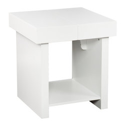 Holly & Martin - Holly & Martin Glidick Slide-Top End Table - White - Open up a little! Function has fun with this modern, white end table. The Glidick tables make room for the good stuff and tuck away the rest. The slide-top stores magazines, remotes, and small accessories while the wide-open shelf displays it all. Simply close the top of this end table for a clean look you'll love.