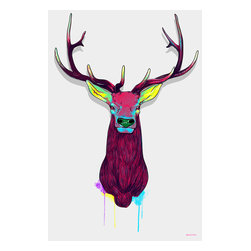 "Maxwell Dickson - Maxwell Dickson ""Elk Head""  Pop Art Canvas Artwork Wall Art Print - We use museum grade archival canvas and ink that is resistant to fading and scratches. All artwork is designed and manufactured at our studio in Downtown, Los Angeles and comes stretched on 1.5 inch stretcher bars. Archival quality canvas print will last over 150 years without fading. Canvas reproduction comes in different sizes. Gallery-wrapped style: the entire print is wrapped around 1.5 inch thick wooden frame. We use the highest quality pine wood available."