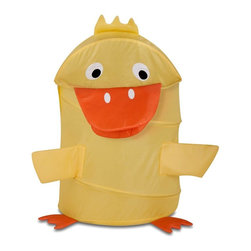 Honey Can Do - Large Kids Pop-Up Hamper - Duck - Large Kid's Pop-Up Hamper - Duck. 170T polyester. 3.3mm diameter spring wire. 18.5 in. L x 18.25 in. W x 30 in. H