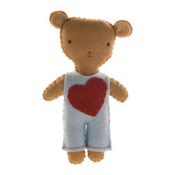 Kata Golda - Stuffed Companion - Bear, Boy - Kata Golda's Stuffed Companions make adorable playtime and cuddle pals. Hand-stitched with cotton thread and soft, hand-dyed wool felt, their hand-embroidered details make each one unique. Care: Gently spot wash with cold water by hand. Detergents can cause the wool to fade, so use caution and test in an inconspicuous area first.  Do not place items in the dryer; they will shrink.