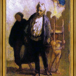 "Honore Daumier-18""x24"" Framed Canvas - 18"" x 24"" Honore Daumier Wandering Saltimbanques framed premium canvas print reproduced to meet museum quality standards. Our museum quality canvas prints are produced using high-precision print technology for a more accurate reproduction printed on high quality canvas with fade-resistant, archival inks. Our progressive business model allows us to offer works of art to you at the best wholesale pricing, significantly less than art gallery prices, affordable to all. This artwork is hand stretched onto wooden stretcher bars, then mounted into our 3"" wide gold finish frame with black panel by one of our expert framers. Our framed canvas print comes with hardware, ready to hang on your wall.  We present a comprehensive collection of exceptional canvas art reproductions by Honore Daumier."
