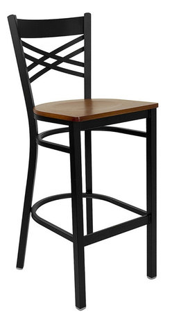 Flash Furniture - Black X-Back Metal Restaurant Bar Stool With Cherrywood Seat - This heavy duty commercial metal bar stool is ideal for Restaurants, Hotels, Bars, Pool Halls, Lounges, and in the Home. The lightweight design of the stool makes it easy to move around. The tubular foot rest not only supports your feet, but acts as an additional reinforcement that helps secure the legs. You will not regret the purchase of this bar stool that is sure to complement any environment to fill the void in your decor.