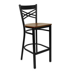 Flash Furniture - Black ''x'' Back Metal Restaurant Bar Stool With Cherry Wood Seat - This heavy duty commercial metal bar stool is ideal for Restaurants, Hotels, Bars, Pool Halls, Lounges, and in the Home. The lightweight design of the stool makes it easy to move around. The tubular foot rest not only supports your feet, but acts as an additional reinforcement that helps secure the legs. You will not regret the purchase of this bar stool that is sure to complement any environment to fill the void in your decor.