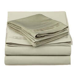 650 Thread Count Egyptian Cotton Twin XL Solid Sheet Set - 650 Thread Count Egyptian Cotton oversized Twin XL Sage Solid Sheet Set