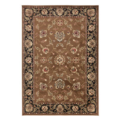"Surya - Riley Rug RLY-5029 - 5'3"" x 7'6"" - Both a bold zig-zag pattern and traditional organic pattern define the rugs in the Riley collection from Surya. While the zig zag pattern is a modern take on the traditional southwest style, the floral pattern of classic style is given a fresh perspective, combining it with geometric sections of different background colors. The Neural browns, tans and grays are delightfully balanced with a pop of cinnamon spice for added interest. Each rug is machine made in Turkey from 1% polypropylene."