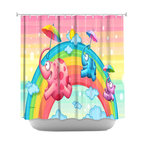 DiaNoche Designs - Shower Curtain Artistic - Rainbow Elephants - DiaNoche Designs works with artists from around the world to bring unique, artistic products to decorate all aspects of your home.  Our designer Shower Curtains will be the talk of every guest to visit your bathroom!  Our Shower Curtains have Sewn reinforced holes for curtain rings, Shower Curtain Rings Not Included.  Dye Sublimation printing adheres the ink to the material for long life and durability. Machine Wash upon arrival for maximum softness on cold and dry low.  Printed in USA.