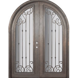 "Valencia 72x96 Round Top Forged Iron Double Door 14 Gauge Steel - ""SKU#    PHBFVRTDR4Brand    GlassCraftDoor Type    ExteriorManufacturer Collection    Buffalo Forge Steel DoorsDoor Model    ValenciaDoor Material    SteelWoodgrain    Veneer    Price    8665Door Size Options      $Core Type    one-piece roll-formed 14 gauge steel doors are foam filled  Door Style    Round TopDoor Lite Style    Radius Lite , Full LiteDoor Panel Style    Home Style Matching    Mediterranean , Victorian , Bay and Gable , Plantation , Cape Cod , Gulf Coast , ColonialDoor Construction    Prehanging Options    PrehungPrehung Configuration    Double DoorDoor Thickness (Inches)    1.5Glass Thickness (Inches)    Glass Type    Double GlazedGlass Caming    Glass Features    Insulated , TemperedGlass Style    Glass Texture    Clear , Glue Chip , RainGlass Obscurity    Door Features    Door Approvals    Wind-load RatedDoor Finishes    Three coat painting process"