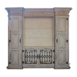 Toulouse Entertainment Center, Weathered Creams with Gray and Gold Leaf - Toulouse Entertainment Center, Weathered Creams with Gray and Gold Leaf