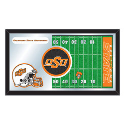 "Holland Bar Stool - Holland Bar Stool Oklahoma State Football Mirror - Oklahoma State Football Mirror belongs to College Collection by Holland Bar Stool The perfect way to show your school pride, our Football Mirror displays your school's symbols with a style that fits any setting.  With it's simple but elegant design, colors burst through the 1/8"" thick glass and are highlighted by the mirrored accents.  Framed with a black, 1 1/4 wrapped wood frame with saw tooth hangers, this 15""(H) x 26""(W) mirror is ideal for your office, garage, or any room of the house.  Whether purchasing as a gift for a recent grad, sports superfan, or for yourself, you can take satisfaction knowing you're buying a mirror that is proudly Made in the USA by Holland Bar Stool Company, Holland, MI.   Mirror (1)"