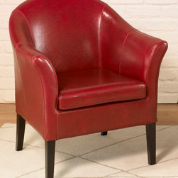 Armen Living - Red Leather Club Chair - Lap of luxury. This smart looking antique red leather club chair is great for home or office. Comfortable padding and California Fire Retardant rated.