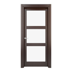 Solid Wood Interior Door –  Model: W29g, 23x80 - Doors are made of solid wood construction covered with textured laminate, Frames are produced using solid wood covered in laminate. Moldings are plywood covered in laminate.