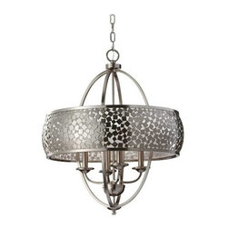 """Murray Feiss - Murray Feiss F2736-4BS Zara 28-1/8"""" 4 Light Chandelier in Brushed Steel F2736-4B - Zara 28-1 8"""" 4 Light Chandelier.Lamping: 4- mini Candelabra B Torpedo 60 WattBulb Included: No Bulb Type: Mini Candelabra Canopy: 5-1 8'' x 7 8'' Round Chain Length: 60 Collection: Zara Cord Color: Clear Silver Finish: Brushed Steel Height: 28-1 8 Material: Steel Number of Lights: 4 Safety Rating: cUL Dry Shade Glass: Silver Organza Fabric Type: Non Crystal Chandeliers Voltage: 120 Wattage: 240 Width: 24 Wire Cord Length: 180"""