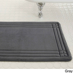 None - Embossed Memory Foam Geoplex 21-inch by 34-inch Bath Mat - Sink your feet into the plush,super soft comfort of the memory foam bath mat each time you step out of the shower or bath. Enhanced with Bounce Comfort technology,each step cushions your foot with exceptional softness and support.