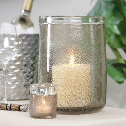 Decorative Bubble Glass Jar / Candleholder - Large - Scattering the light through an airy wall of fine bubbles that give substance without sparkle, the Decorative Bubble Glass Jar makes a splendid hurricane lantern or candleholder, in addition to simply serving as a gorgeous container for the transitional tablescape.  A light amber tint to the transparent walls warms the effect of the jar; a turned lip gives a finished vintage impression.