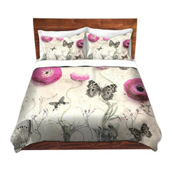 DiaNoche Designs - Duvet Cover Microfiber - Vintage Butterfly - DiaNoche Designs works with artists from around the world to bring unique, artistic products to decorate all aspects of your home.  Super lightweight and extremely soft Premium Microfiber Duvet Cover (only) in sizes Twin, Queen, King.  Shams NOT included.  This duvet is designed to wash upon arrival for maximum softness.   Each duvet starts by looming the fabric and cutting to the size ordered.  The Image is printed and your Duvet Cover is meticulously sewn together with ties in each corner and a hidden zip closure.  All in the USA!!  Poly microfiber top and underside.  Dye Sublimation printing permanently adheres the ink to the material for long life and durability.  Machine Washable cold with light detergent and dry on low.  Product may vary slightly from image.  Shams not included.