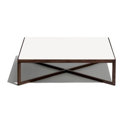 Knoll - Knoll | Krusin Square Coffee Table with Glass or Laminate Table Top - Design by Marc Krusin, 2012.