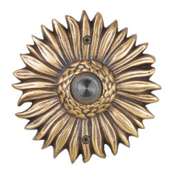 Waterwood - Solid Brass Sunflower Doorbell in Antique Brass - The Waterwood Solid Brass Sunflower Doorbell is a symbol of eternal sunshine and summer at your front door.. This solid brass doorbell is crafted using the sand casting technique. It is then hand finished and coated with a protective lacquer to withstand the elements. Waterwood doorbells are easy to install and will add personality to your home.