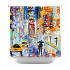 DiaNoche Designs - Shower Curtain Artistic A New York New Year - Sewn reinforced holes for shower curtain rings. Shower Curtain Rings Not Included. Dye Sublimation printing adheres the ink to the material for long life and durability. Machine Washable. Made in USA.