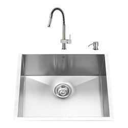 VIGO Industries - VIGO Undermount Stainless Steel Kitchen Sink, Faucet and Dispenser - Get everything you need with this complete kitchen set that will revitalize the look of your kitchen