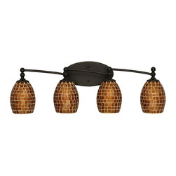Toltec Lighting - 4-Light Bath Bar with 5 in. Mosaic Glass - Bulbs not included.