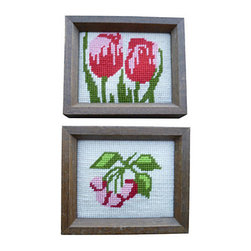 "Floral Portraits, Pair - Pair of bright and graphic needlepoint portraits. Great in a grouping in a little girl's room. Perfect for a kitchen or as a cheery addition to powder room walls. Framed in pine with no glass. Frames are 1.25"" thick."