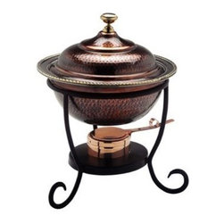 Old Dutch - 12 x 15 Round Antique Copper Chafing Dish 3-Quart - 3-Quart Round Antique Copper Chafing Dish. 3-Quart Stainless Steel food pan is oven safe to 350F, water-bath design keeps food at the perfect serving temperature without drying out. Chafing dish features brass knob and accented rim. Includes sturdy iron stand. Adjustable fuel holder takes standard gel fuel canisters (not included).
