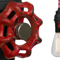 Hammers & Heels - Vintage Upcycled Valve Pipe Pendant Light - Red Cloth Cord - INDUSTRIAL VINTAGE VALVE PENDANT LIGHTING