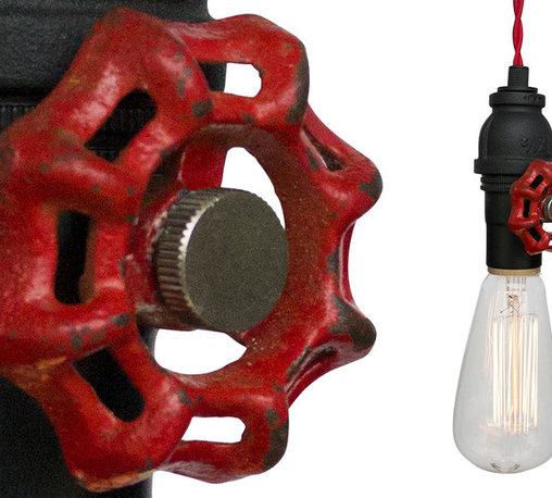 Hammers & Heels - Vintage Upcycled Valve Pipe Pendant Light - Red Cloth Cord - INDUSTRIAL VINTAGE VALVE PENDANT LIGHTING