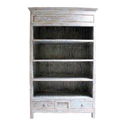 Wood Bookshelf - Warmly weathered four-shelf bookshelf with crown molding and two small bottom drawers.