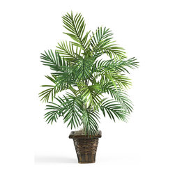 "Nearly Natural - Areca Palm w/Wicker Basket Silk Plant - Experience the mesmerizing, relaxing beauty that only a palm tree can deliver. This graceful Areca Palm is a wonderful addition to your home or office, and brings a warm, tropical elegance to any room (you'll want to find your hammock!) A full 38"" tall, it comes in a decorative wicker basket, which provides an added sense of flair."