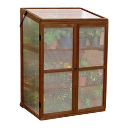 "Gardman USA - Wooden Growhouse FSC Timber - Wooden GrowHouse FSC Timber. 3'0"" wide x 1'8"" deep x 3'6"" high. Large, rigid solid wood frame. Two slatted wooden shelves. Twin-wall Polycarbonate glazing. Hinged doors with latch bolt fastening. Hinged lid with locking stays for ventilation."