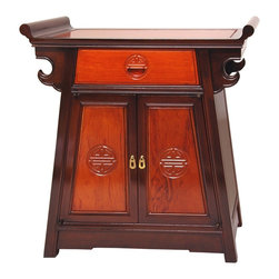 Oriental Unlimted - Rosewood Altar Cabinet - Solid and durable kiln dried Rosewood altar cabinet. Beautiful two tone Honey and Cherry stain with medium lacquer finish. Finely carved Shou medallions and lacquered brass door handles. Convenient height for chair side or bedside lamp table. Over-all: 26 in. W x 12 in. D x 27.5 in. H (32 lbs.). Inside: 20 in. W x 9.5 in. D x 15 in. H. Drawer: 12 in. W x 9 in. D x 3 in. H