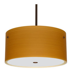 """Besa Lighting - Besa Lighting 1KT-4008OK Tamburo 3 Light Stem-Hung Pendant - Tamburo is a classic open-ended cylinder of handcrafted glass, a shape that will stand the test of time. Our Oak glass is a soft off-white cased glass that is handcrafted with spiraling strokes of light brown, emphasizing the subtle brush pattern. The wood-toned rippled design is subdued and harmonious. Unlit, it appears as simply a textured surface like wood grain, but when lit the texture comes alive. The smooth satin finish on the clear outer layer is a result of an extensive etching process, with the texture of the subtle brushing. This blown glass is handcrafted by a skilled artisan, utilizing century-old techniques passed down from generation to generation. The stem pendant fixture is equipped with an adjustable telescoping section, 4 connectable stem sections (3"""", 6"""", 12"""", and 18"""") and low Profile flat monopoint canopy.Features:"""
