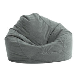 "Comfort Research - Comfort Research Ultra Lounge Comfort Suede - Steel Grey - Want a bean bag with the added support of a teardrop shape? The Ultra Lounge is the way to go. The 110"" circumference also provides extra seating capacity so that you can enjoy reading, watching TV, playing games, or lounging. Relax in comfort with the Ultra Lounge. Made with soft, durable microsuede fabric. Filled with UltimaX Beans that conform to you. Double-stitched and double zippers for added strength and safety. Spot clean."