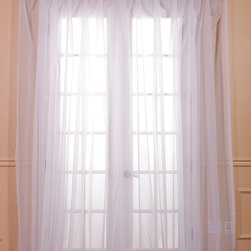 Exclusive Fabrics & Furnishings, LLC - Solid White Double Wide Voile Poly Sheer Curtain - These beautiful and classic double wide solid voile poly sheer curtain panels come two in the set for extra value. These sheer panels are unmatched in quality and design. They create a warm atmosphere with beautiful light diffusion.
