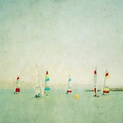 """hobie cat circling"" Artwork - Colorful and painterly photograph of a hobie cat race in the blue waters with a serene landscape background...dreamlike quality.  Each signed and numbered. Image would look great in a 12 x 12  frame with 4in. matting."