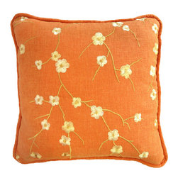 Interior Nature - Tangerine Cherry Blossom Embroidery Pillow - Add a pop of bright color to your bedroom, living room, study or nursery. Tangerine with embroidered cherry blossom branches. They are 66% cotton, 34% rayon with a shiny embroidery thread. High quality hypoallergenic cluster poly alternative fill.