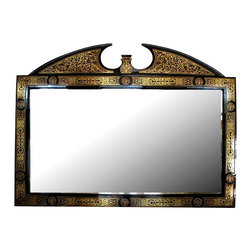 MBW Furniture - Black French Boulle Marquetry Mirror - This is a gorgeous 6.5ft black *Boulle buffet wall hanging mirror. The mirror is beveled and it features a gorgeous frame that is richly embellished with inlaid brass foliage designs above beautiful scarlet and black finish and it has distinguished split & scalloped pediment adorned with foliage inlaid designs. Hanging hardware not included. From the elegant design to quality build this piece of furniture will bring many years of convenience and pleasure to your home.