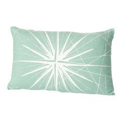 Cricket Radio - Montauk Compass Rose Small Pillow, Aqua/White - Guide your room in the right style direction. This handmade lumbar pillow features a compass pattern printed in ecofriendly inks on Italian linen, a removable down insert and comes in your choice of colors to easily coordinate with your space.