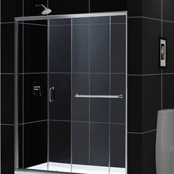 "DreamLine - DreamLine Infinity-Z Frameless Sliding Shower Door and SlimLine 34"" - This kit combines the INFINITY-Z shower door with a coordinating SlimLine shower base, perfect for a bathroom renovation or tub-to-shower conversion project. The INFINITY-Z pairs a sliding shower door with a stationary glass panel to provide a comfortably wide shower entry. The stationary panel is fitted with a convenient towel bar that doubles as a handle. The SlimLine shower base completes the look with a low profile design for a sleek modern look. Choose this efficient and cost effective DreamLine shower kit to completely transform a shower space. Items included: Infinity-Z Shower Door and 34 in. x 60 in. Single Threshold Shower BaseOverall kit dimensions: 34 in. D x 60 in. W x 74 3/4 in. HInfinity-Z Shower Door:,  56 - 60 in. W x 72 in. H ,  1/4 (6 mm) clear tempered glass,  Chrome or Brushed Nickel hardware finish,  Frameless glass design,  Width installation adjustability: 56 - 60 in.,  Out-of-plumb installation adjustability: Up to 1 in. per side,  Anodized aluminum profiles and guide rails,  Convenient towel bar on the outside panel,  Aluminum top and bottom guide rails may be shortened by cutting up to 4"",  Door opening: 21 3/8 - 25 3/8 in.,  Stationary panel: 27 in.,  Reversible for right or left door opening installation,  Material: Tempered Glass, Aluminum,  Tempered glass ANSI certified34 in. x 60 in. Single Threshold Shower Base:,  High quality scratch and stain resistant acrylic,  Slip-resistant textured floor for safe showering,  Integrated tile flange for easy installation and waterproofing,  Fiberglass reinforcement for durability,  cUPC certified,  Drain not included,  Center, right, left drain configurationsProduct Warranty:,  Shower Door: Limited 5 (five) year manufacturer warranty ,  Shower Base: Limited lifetime manufacturer warranty"