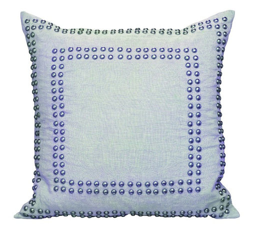 Jamie Young Co. - Jamie Young Co. Studded Square Pillow in Breeze Linen - Studded Square Pillow in Breeze Linen by Jamie Young Co. Available in Medium and Large.