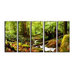 Vibrant Canvas Prints - Canvas Art Prints, Framed 3 Panel Forest Red Leaveand Decor on Canvas - This is a beautiful, 100% quality cotton canvas print. This print is perfect for any home or office, and will make any room shine with its addition of color and beauty.  - Free Shipping - Modern Home and Office Interior Decor   Forest Canvas Designs - 5 Panel Print   Forest Water Flow Print on Canvas - Wall Art - 30 Day Money Back Guarantee.