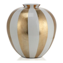 """Z Gallerie - Raya Vase - 14.5""""H - Take a bold, definitive stand on creating stylish decor by giving our fashionable Raya Vase a place of importance in a room. Available exclusively at Z Gallerie, the large rounded vase is handcrafted of sustainable lightweight bamboo and finished with a glossy lacquer of broad gold and white stripes. Suggested for use with decorative flowers or foliage only."""