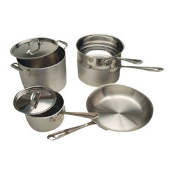 All Clad - All Clad MC2 Cookware Set, 9 pc. - MC2 cookware is a contemporary makeover of All-Clad's original Master Chef collection, created for the chef community. Embodying a commercial aesthetic and bonded three-ply construction, MC2 cookware is lightweight and hardworking, making it perfect for the professional chef or culinary enthusiast who craves industrial style and professional performance. The 18/10 stainless steel interior complements a matte-finished, brushed aluminum exterior, providing superior cooking results at an extraordinary value.                              -Two heavy layers of aluminum increase heating speed