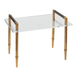 "Port 68 - Benton Gold/Lucite Table - The Benton table exudes statement-making sophistication. Its polished lucite top offers a posh presentation, while golden turned legs meet leather cuff handles in contemporary contrast. 24""W x 18""D x 19.5""H; Metal legs; Antiqued gold finish; Brown hand-stitched leather"