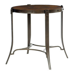 "Hammary - Aeris Round End Table - ""Aeris is inspired by the natural beauty and rugged terrain of Central Mexico. The textured bases and hammered tops mix well with sweeping curves. Crafted of Copper Tops in a Soft Aged Finish and Steel Bases in a Textured/Black Steel Finish."