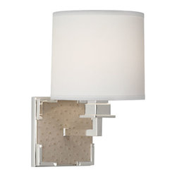 Robert Abbey - Robert Abbey Mary McDonald Spence Wall Sconce 2572 - Ecru Faux Ostrich Leather with Silver Plate Accents