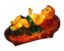 Christmas Nativity Set - Baby Jesus in Cradle - No Nativity scene is complete without a Baby Jesus. This fiberglass Christmas decoration is illuminated from within by clear, incandescent Christmas mini lights. The Baby Jesus reclines in a manger, and the whole figure measures 18 inches in length and stands 8.5 inches high. Suitable for indoor or outdoor use, the chip resistant fiberglass construction makes it ideal to stand in both commercial and home Christmas displays. With proper storage, this figure will last for generations to come.