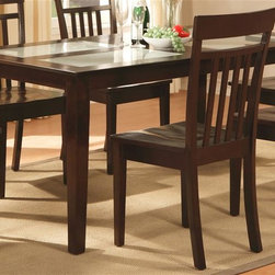 East West Furniture - Capri Rectangular Dining Table in Cappuccino - Chairs not included. Four piece of tempered frosted glass. Made from asian rubber solid wood. Assembly required. 60 in. L x 36 in. W x 30 in. H (68 lbs.)